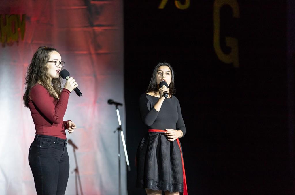Lara Žohar in Lara Legan iz 3. aG med izvajanjem pesmi Nine Pušlar in Matjaža Robavsa Mimogrede. Foto: Tina Stariha, 4. bG